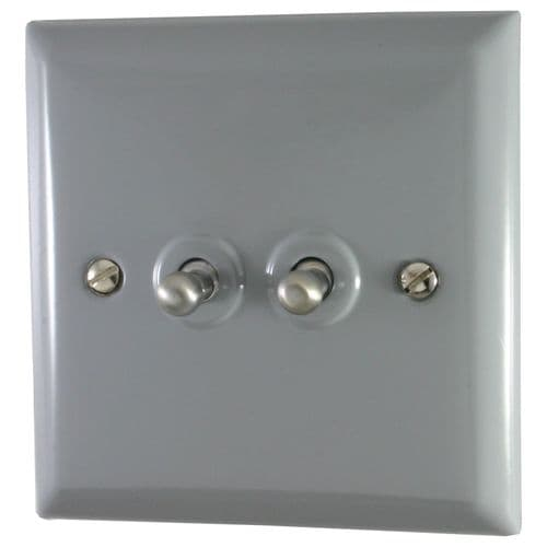 G&H SLG282 Spectrum Plate Light Grey 2 Gang 1 or 2 Way Toggle Light Switch